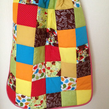Woodland baby quilt~ bright and colourful quilt~ baby boy quilt~ woodland nursery~ birds~ raccoons~ bear~ fox~ crib blanket~ cot quilt