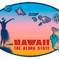 Hawaiian Island Chain - Hawaiian Art Decal - Car Window Bumper Sticker