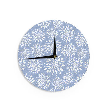 "Julia Grifol ""Blue Garden"" Aqua White Wall Clock"