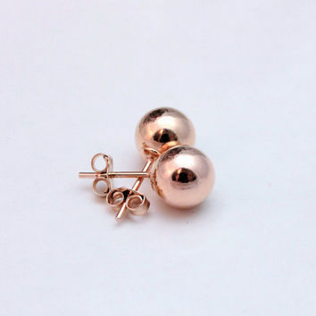 Rose gold earrings - sterling silver gold plated studs - 8 mm gold studs - everyday earrings - Christmas gifts for her