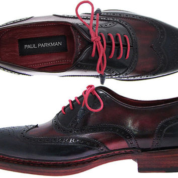 Paul Parkman Men's Triple Leather Sole Wingtip Brogues Navy & Red Oxford Shoes