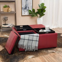 Geneva Red Four Sectioned Leather Cube Storage Ottoman