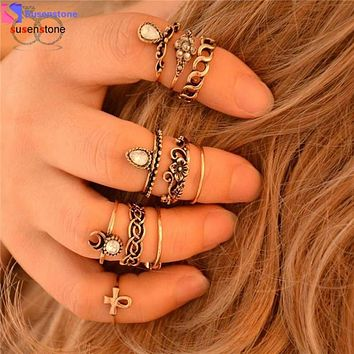SUSENSTONE Retro 10Pcs/ Set  Arrow Moon Middle Finger Knuckle Rings