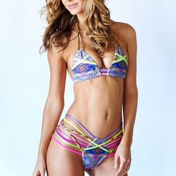 Montce Swim Mixed Media Bikini Top