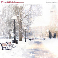 Holiday SALE, Winter White Wall Decor Holiday Snow on park bench photograph Ottawa Canada, landscape Print