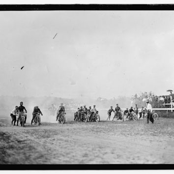 c1916 Motorcycle Race- Benning, Maryland, Races   -Antique-Old-Vintage B&W Reproduction Photograph: Gicclee Print. Frame it!