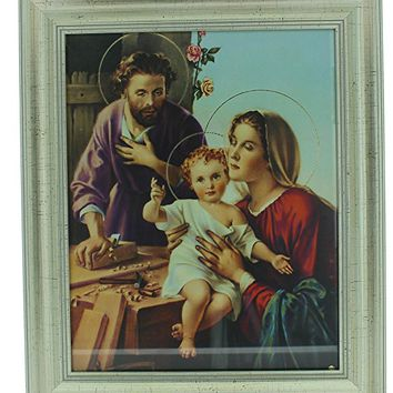 "FRAMED ART GLASS HOLY FAMILY JOSEPH CARPENTER 10"" X 12""."
