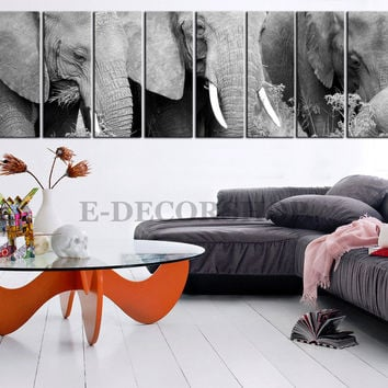 Large Wall Art Canvas Big Elephant Family Canvas Art Print 8 Panel African Elephant Animal Large CANVAS
