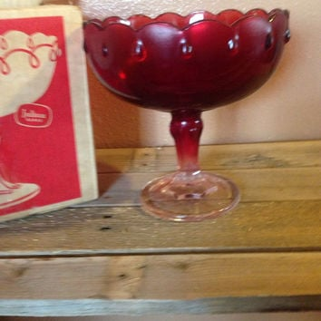 Ruby red indiana glass dish