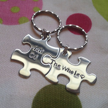 Handstamped Interlocking Puzzle Piece Keychain Double by TaisTags