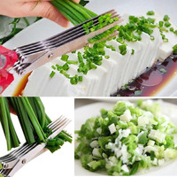 Stainless Steel 5 Layer Kitchen Scissors Kitchen Knives Sushi Shredded Scallion Cut Herb Scissors Spices Scissors