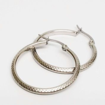 CLEARANCE - Art Nouveau Etched Stainless Steel Hoop Earrings