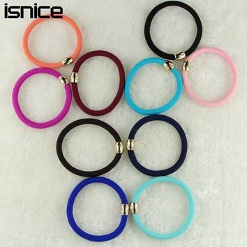 Isnice 10pcs/lot Ball Elastic Rubber Bands Girl Candy Color Headwear Women Hair Accessories Colorful Bold Rubber Bands Ornaments