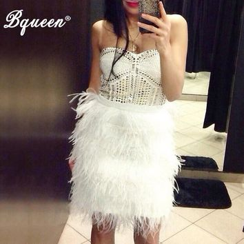 Studded Gold Rivets Beaded Real Ostrich Feather Strapless Party Dresses