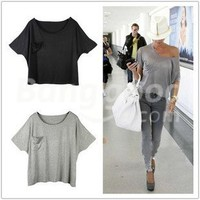 Stylish Women's Modal Loose Batwing Short Sleeve Pocket T-Shirt Free Shipping!  - US$11.99