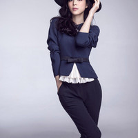 Long Sleeve Lace Embroidered Bow Waist Blouse