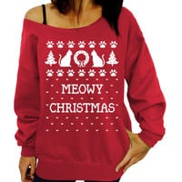 Oblique Collar Christmas Pattern Letter Printed T-Shirt