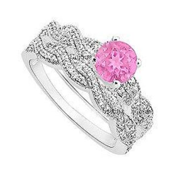 Pink Sapphire and Diamond Engagement Ring with Wedding Band Set : 14K White Gold - 0.80 CT TGW