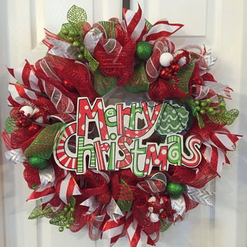 Merry Christmas Wreath, Christmas Wreath, Christmas Mesh, Front Door Wreath, Green Red Christmas, Holiday Wreath, Christmas Deco Mesh Wreath