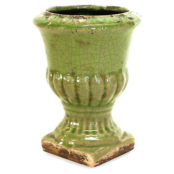 "6"" Ceramic Urn, Light Green, Outdoor Urns, Planters & Jardinieres"