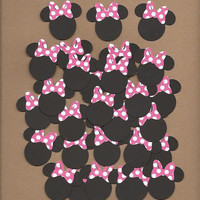 30 1.5 inch tall Minnie Mouses with hot pink and white polka dot bows cricut die cuts