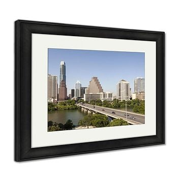 Framed Print, Austin City Downtown Skyline Texas United States