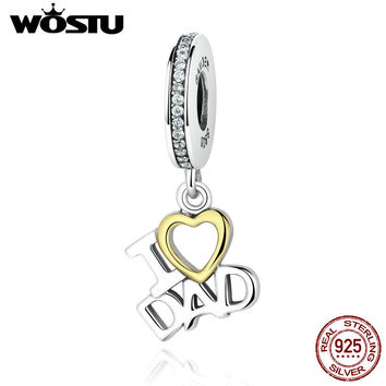 Real 925 Sterling Pure Silver I LOVE DAD Dangle Charm Beads Fit Original wst Bracelet Authentic Jewelry Father Daddy Gift CQC052