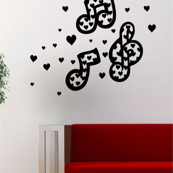 Music Notes Hearts Art Decal Sticker Wall Vinyl Decor Home Room