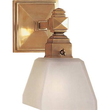 Visual Comfort and Company CHD1541AB-FG Antique Brass Normandie Faceted One-Light Sconce