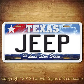 Jeep Texas Aluminum Vanity License Plate