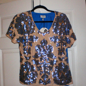 Sale! Plenty By Tracy Reese Sequined Oversize Blue And Gold Sequin Top Holiday Party Top Sz Xs