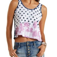 Multi Patriotic Palm Tree Print Tank Top by Charlotte Russe