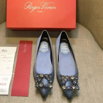 ROGER VIVIER summer new pointed rhinestone square buckle flat shoes F-AHD-HNXG-ZD