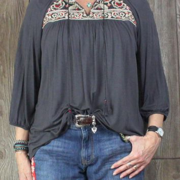 Cute One September Peasant Top L size Gray Embroidered Neckline Soft Fabric