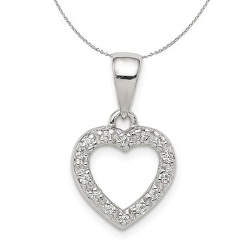 Sterling Silver and Cubic Zirconia Heart Shaped 11mm Necklace