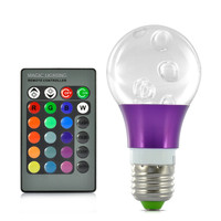 3W LED RGB Bulb Light - 270 Lumens, E27 Connection Base, Remote Control