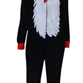 Dr Seuss Cat in the Hat Costume Onesuit Pajama for women (Medium/Large)