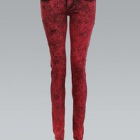 Red Raw Wash Skinny Jeans