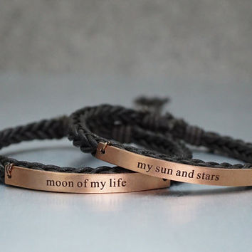 Game of Thrones Bracelets, Moon of my life - my sun and stars, Couples Bracelet, Thin Brown Braided Matching Couple, his and her bracelet