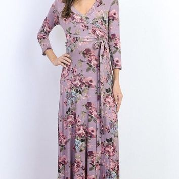 Mauve Roses Floral Wrap Maxi Dress
