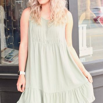 Sage Ruffle + Frayed Hem Sleeveless Dress