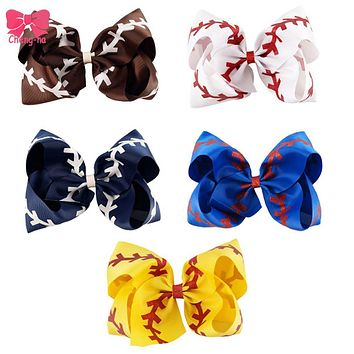 "7"" Glitter Softball Ribbon Bows With Clip"