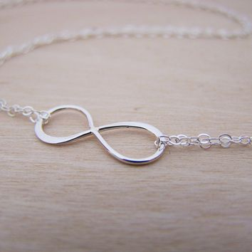 Sterling Silver Infinity Double Layered Chain Infinite Love Necklace / Gift for Her