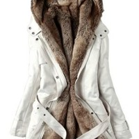 CHAREX Warm Hooded Faux Fur Ling Winter Coat Long Jacket Parka Women