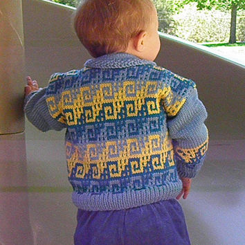 Hand Knit Baby Sweater Blue and Yellow Size 12 Months