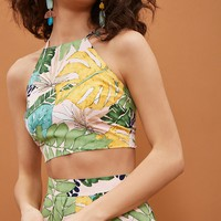 Leaf Print Tie-Back Crop Top