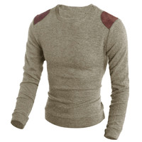 Long Sleeves Autumn Leather  Sweater