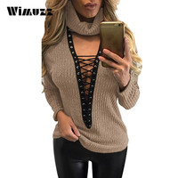 Wimuzz Lace Up Sweater Sexy Women Deep V Neck Knitted Pullover Pull Femme White Turtleneck Sweaters