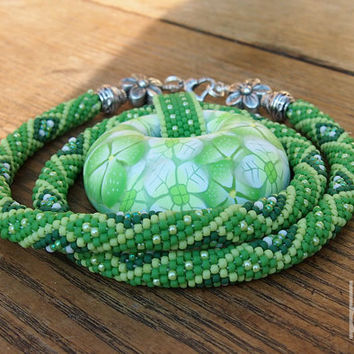 Crochet Bead Rope Necklace with Giant Polymer Clay Millefiori Pendant, Green