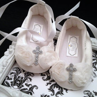 Christening Shoes, Shabby Chic, White flowers with glitter cross detail, Baptism, Hair accessory, Christening accessory